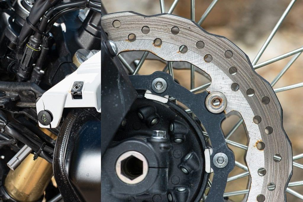 Verarbeitungsqualität: gebrochene Verkleidung und Flugrost an Bremsscheiben.